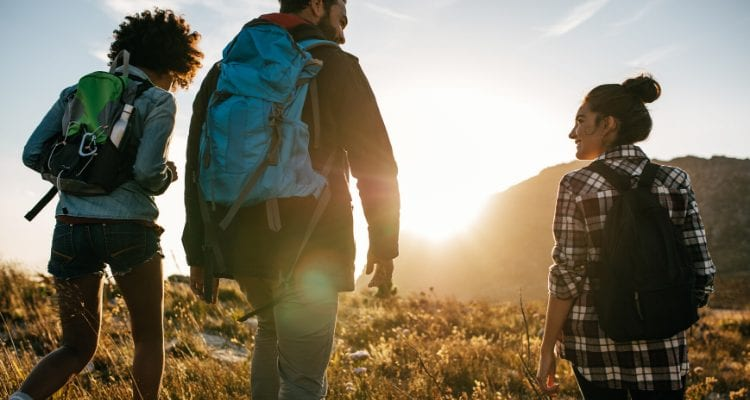 Healthy People Hiking To Get Fresh Air, Sunshine and Prevent Illness and Disease