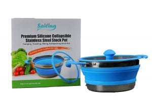 Premium Collapsible Stainless 3 Quart Silicone Stock Pot
