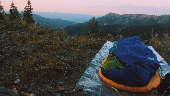 Camping Outside While Ultralight Backpacking with tarp, sleeping pad and sleeping bag