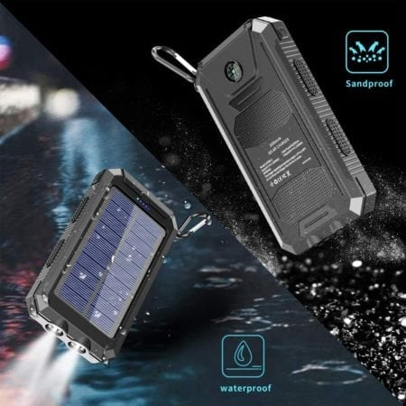 Waterproof solar power bank charger with flashlight and compass