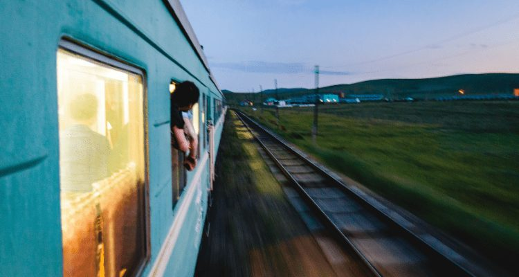AdventureHacks team members traveling on the Trans-Siberian Express from Japan to Russia