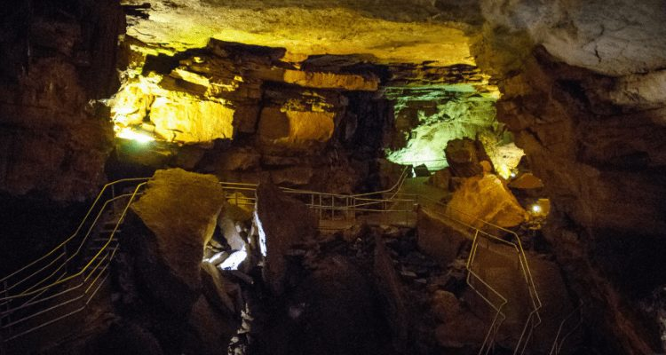 Adventure Hacks and crew touring the Mammoth Caves in Mammoth Cave National Park