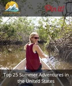 Adventure Hacks explorer paddling through the Florida Everglades with her husband - Pinterest Graphic
