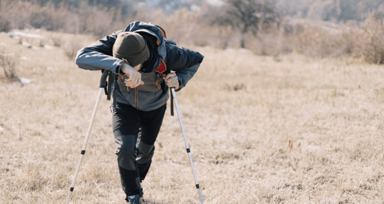 Hiker with nausea on the trail