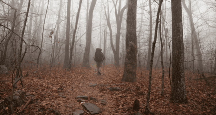 Man happily hiking in rainy, foggy weather